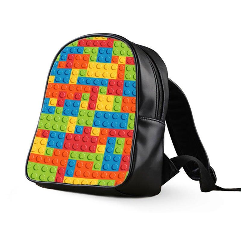 #01 Lego Brick Kids Multi-Pocket School Bag Backpack
