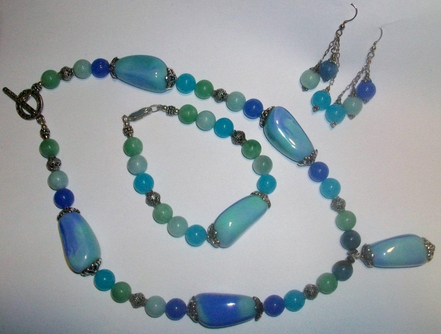 Blue Chalcedony Jewelry Set