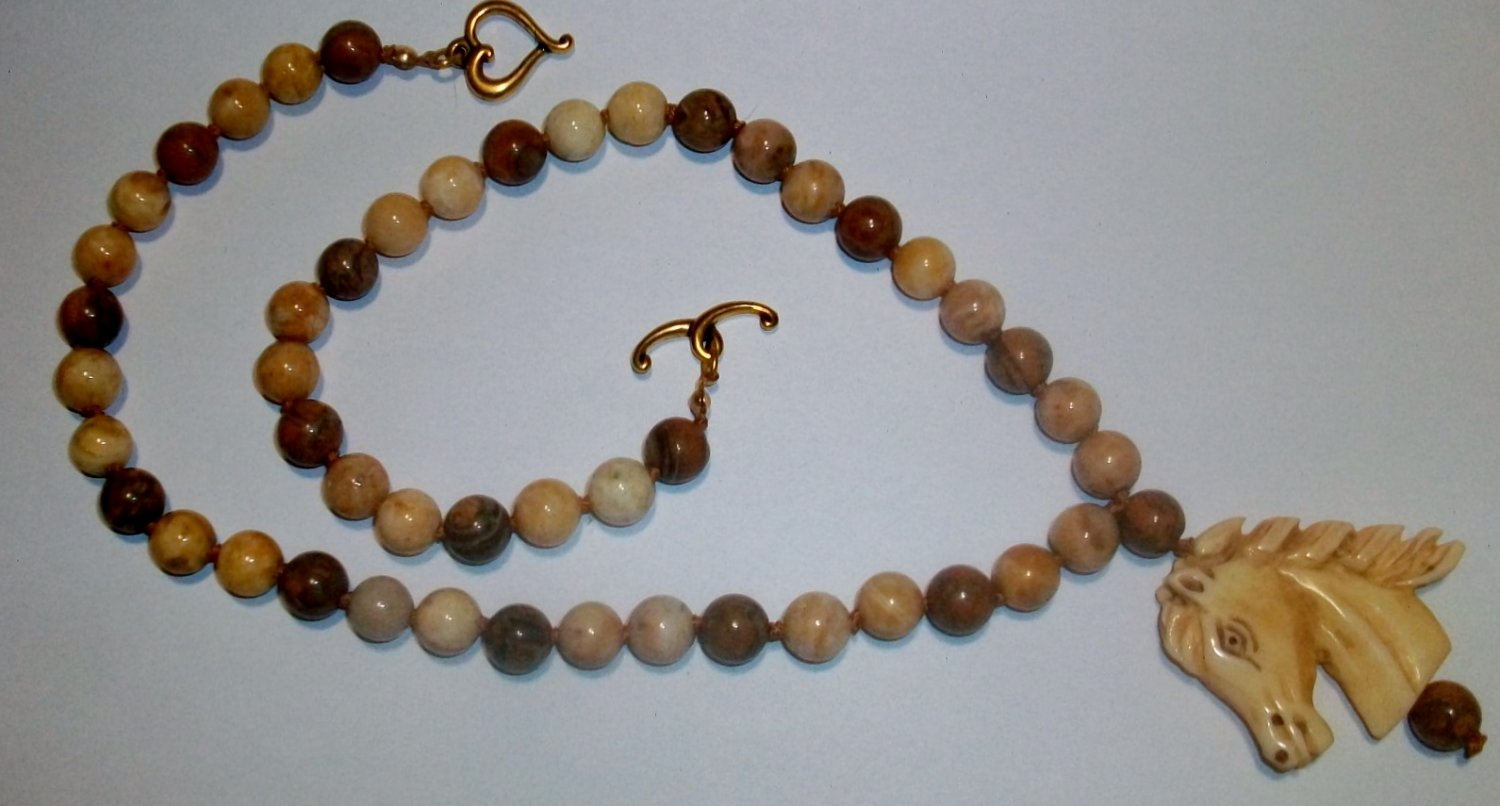 Carved Horse Jasper Necklace