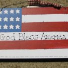 Wood Sign 190F-God Bless America Flag