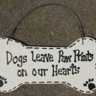 DB2- Dogs Leave Paw Prints on our Hearts Wood Dog Bone