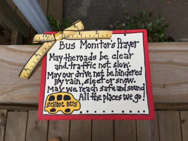Teacher GIfts 5104 Bus Monitor's Prayer
