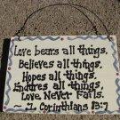 CS6212 - Love Never Fails Sign Wood Sign