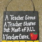 Teacher Gift 5208 A Teacher Cares with Ruler/Apple