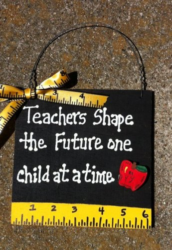 Teacher Gift 5217TS - Teachers Shape with Ruler/Apple Wood Sign