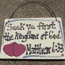 Crafts Wooden Scripture Sign 4006 Seek ye First the Kingdom of God
