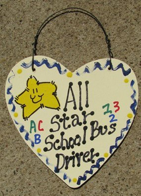 5015 - All Star School Bus Driver Wood Hanging Sign