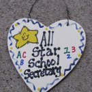 Teacher Gifts 5028 All Star School Secretary handmade wood heart