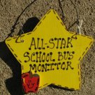 Teacher Gifts Yellow Star w/Apple 7028 All Star School Bus Monitor Wood Star