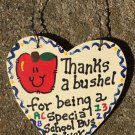 Teacher Gift 6015 Thanks a Bushel Special School Bus Driver Wood Heart