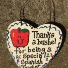 Teacher Gift 6024 Thanks a Bushel Special Spanish Teacher Wood Heart
