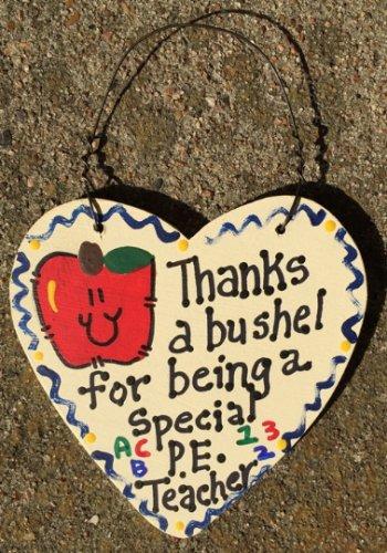 Teacher Gift 6014 Thanks a Bushel Special PE Teacher Wood Heart