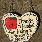Teacher Gifts 6017 Thanks a Bushel Special Music Teacher Wood Heart