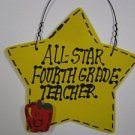 Teacher Gifts Yellow Star w/Apple 7023 All Star Fourth Grade Teacher