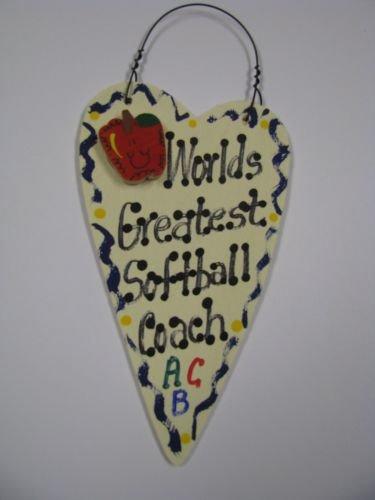 Teacher Gifts Worlds Greatest Softball Coach 3053 Long Wood Heart