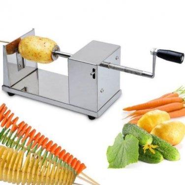 Stainless Steel Potato Chip Making Machine Home Made Potato Spiral Cutter Slicer