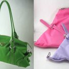 Microfiber Double Strap Handbag With Buckled Details