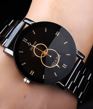 KEVIN New Design Watches Fashion Black Round Dial Stainless Steel Band  Mens Gifts