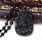 55x42mm Chinese Handwork Natural Black Obsidian Carved Dragon Amulet Lucky pendant