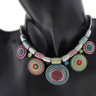 Choker Necklace Fashion Ethnic Vintage Plated Colorful Bead Pendant Statement