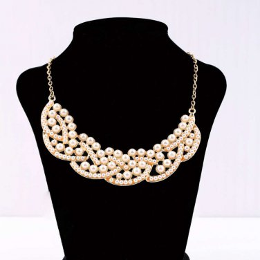 Golden Fashion Simulated-Pearl Choker Bib Pendant Collar Necklace Elegant Jewelry