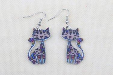 Drop Cat Earrings Dangle Long Acrylic Pattern Earring Fashion Jewelry For Women