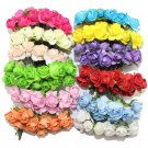 144PCS One lot  1cm Head Multicolor Artificial Paper Flowers Rose Used For Decorative Gift