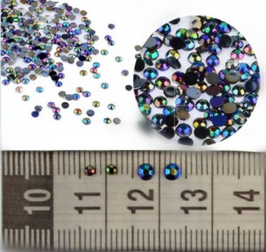 300pcs3D Nail Art Tips Crystal Glitter Rhinestone Pearl Decoration black nail art nail