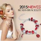 silver Plated bead Charm Bracelet for women European Style Handmade