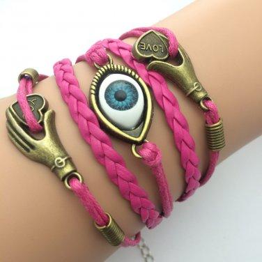 Turkey Eyes Handmade leather Infinity Rope Bracelets For Women men Jewelry LOVE