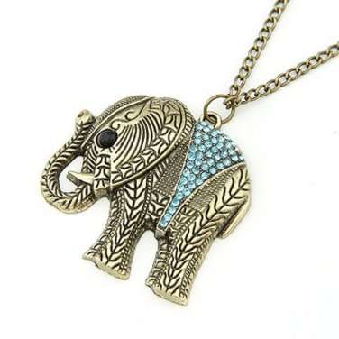 Fashion Elephant Ethnic Necklace Full Crystal Thailand Elephant Pendant Sweater Long Chain