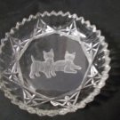 Clear Cut Glass Bowl With Etched Scottish Terriers Scottie Dog Trinket Bowl, Candy Dish, AshTray