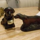 Lot of 2, Avon Bottles or Decanters, DOGS, Mostly Full with After Shave