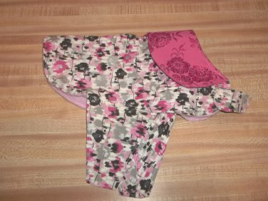 Girlie XS Warm Dog Coat - Handmade Pink Flowered with Solid pink collar