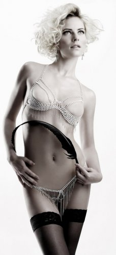 Rhinestone Bra with fringes and thong set