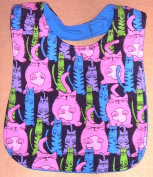 Brightly Colored Kitty Cat Kittens Baby Bib