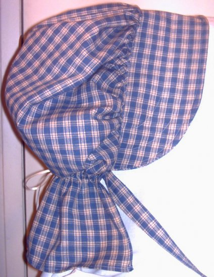 Womens Blue and Tan Plaid Pioneer Prairie Bonnet