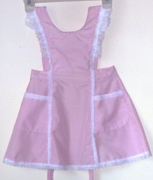 Girls New Pinafore Apron Sz 3 Pink  and White