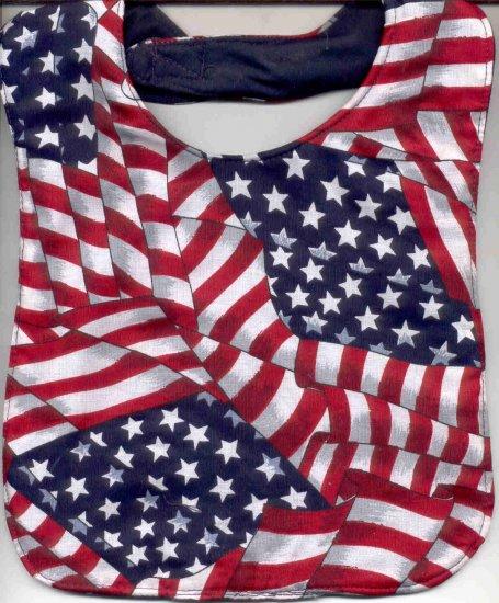 Patriotic Red White Blue Baby Bib American Flag Print