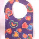 New Handmade Baby Bib Purple With Tie Dye Hearts
