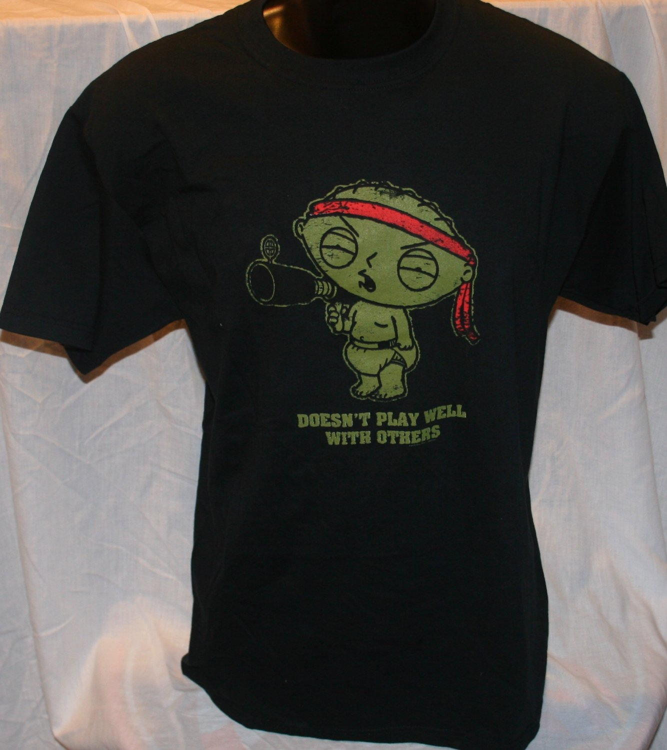 """Family Guy Stewie """"DOESN'T PLAY WELL WITH OTHERS"""" Black Large T Shirt"""