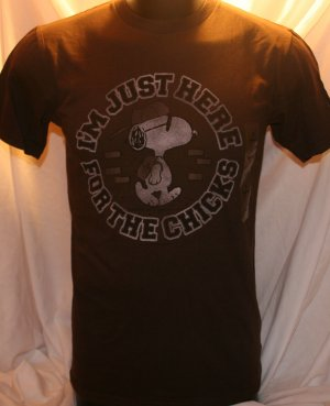 """I'm Just Here for the Chicks"" Joe Cool Snoopy Small  Brown T-Shirt"