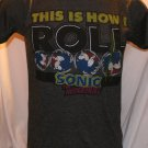 "Sonic the Hedgehodge "" This is How I Roll"" SEGA Gray Small T-Shirt"