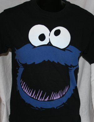 COOKIE MONSTER Sesame Street BLACK Medium T Shirt