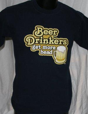 BEER DRINKER'S GET MORE HEAD Steve & Barry BLUE Medium T Shirt