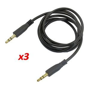 3X 6FT 3.5MM STEREO AUDIO HEADPHONE CABLE CORD MALE TO MALE AUX MP3 IPOD PC