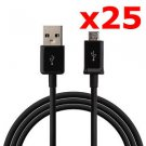 25X MICRO USB DATA CABLE CORD CHARGER CELL PHONE TABLET WHOLESALE LOT NEW
