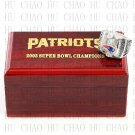 Team Logo wooden case 2003 New England Patriots Super Bowl Championship Ring 10-13 size solid back