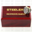 Team Logo wooden case 2008 Pittsburgh Steelers Super Bowl Championship Ring 10-13 size solid back