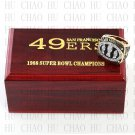 1988 San Francisco 49ers Super Bowl Championship Ring 10-13 size solid back Team Logo wooden case